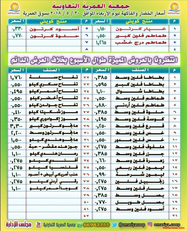 عروض جمعية العمرية اسعار الخضار والفاكهه يوم الاربعاء 30 مايو 2018 (1 صوره)