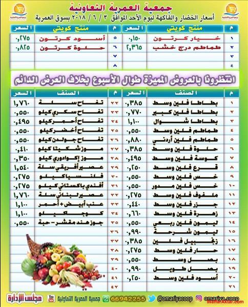 عروض جمعية العمرية اسعار الخضار والفاكهه يوم الاحد 3 يونيو (1 صوره)