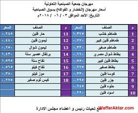 عروض جمعية الصباحية التعاونية اسعار الخضار والفاكهه يوم الاحد 3 يونيو (1 صوره)